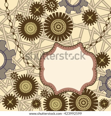 Steampunk card.Vector mechanical background. Stylized collage with gear wheels. - stock vector