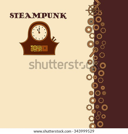Steampunk card with clock with metal gears in doodle style - stock vector
