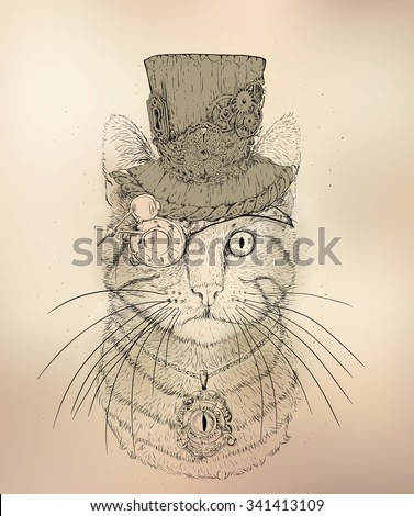 steampunk cat in the hat and glasses - stock vector