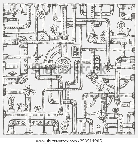 Steampunk doodle background. Vector illustration - stock vector