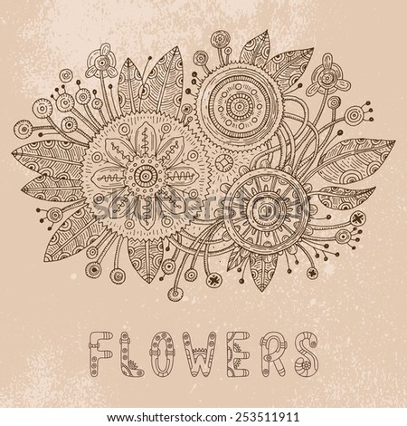 Steampunk doodle flowers. Vector illustration - stock vector
