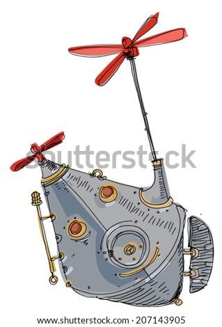 steampunk flight machine - cartoon - stock vector