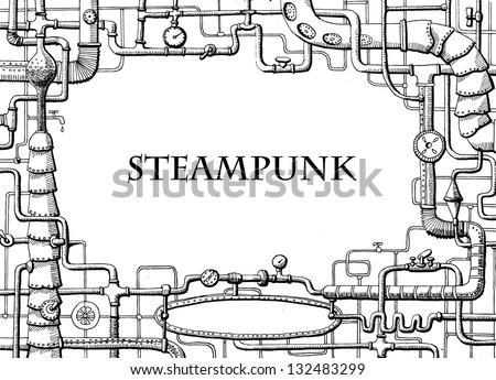 Steampunk frame - stock vector