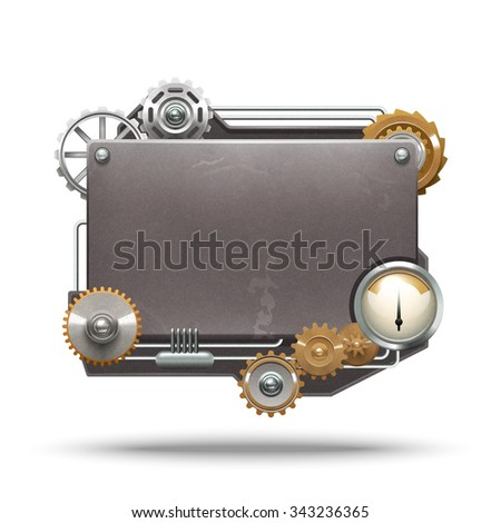 Steampunk frame in vintage style on white background isolated vector illustration - stock vector