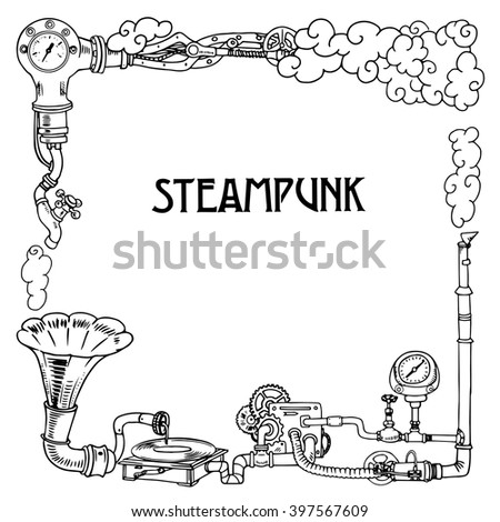 Steampunk frame with industrial machines gears chains, gramophone and technical elements, vector illustration - stock vector
