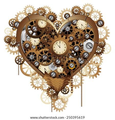 Steampunk Heart Love - stock vector