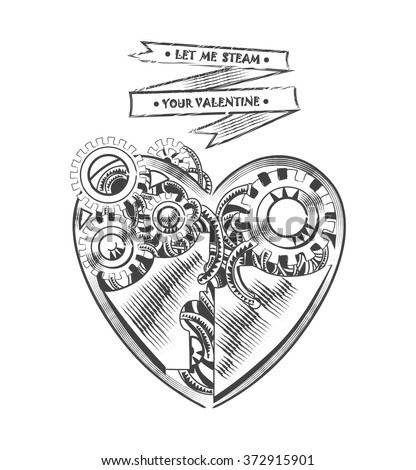 steampunk hipster vector drawing Valentine heart art element for card, site - stock vector