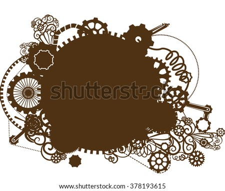 Steampunk Illustration Featuring Silhouettes of Cogs and Gears - stock vector