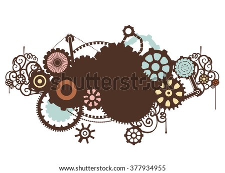 Steampunk Illustration Featuring the Outlines of Cogs and Gears - stock vector