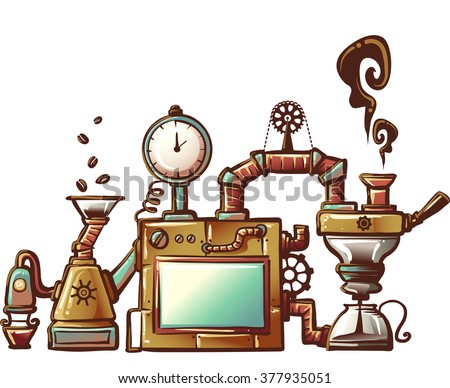 Steampunk Illustration of an Elaborately Designed Coffee Maker - stock vector