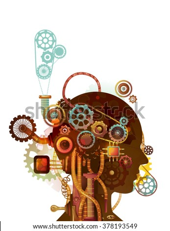 Steampunk Illustration of the Brain of a Man Designed with Cogs and Gears - stock vector
