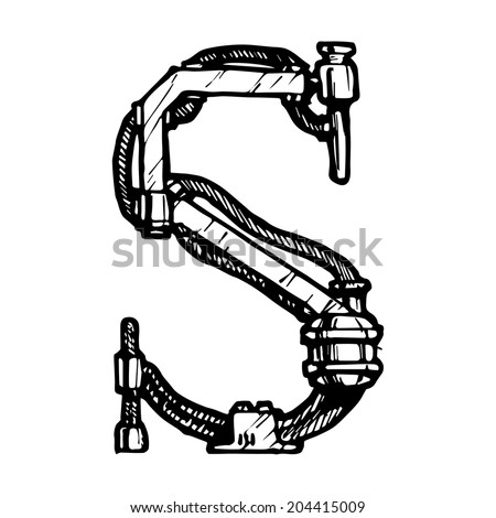 Steampunk letter  made of different technical pieces: pipes, blocks, screws, etc. Stylized as engraving. Letter S. - stock vector