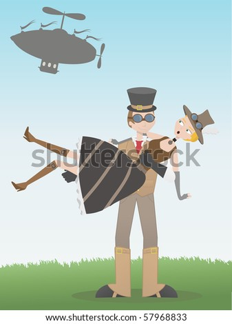 Steampunk man catching steampunk woman who's fallen from airship - stock vector
