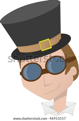 Steampunk Man Head Portrait Smiling - stock vector