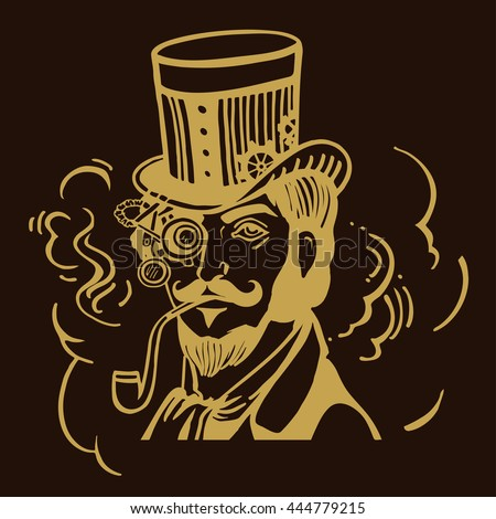 Steampunk man in top hat and glasses with the beard and moustache and a smoking pipe, retro, vector illustration, vintage sketch hand drawn