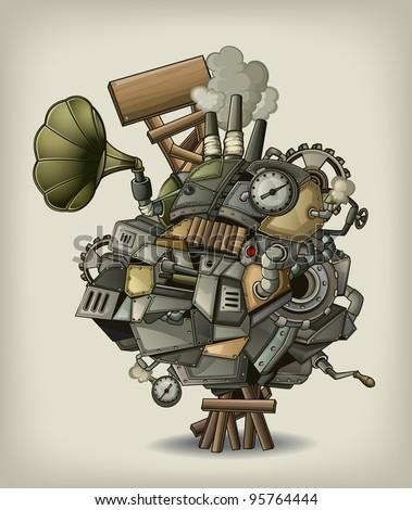 Steampunk mechanism - stock vector