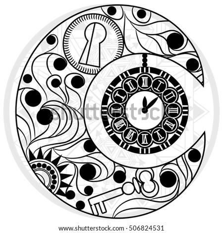 Steampunk Moon Vintage Clock Hand Drawn Stock Vector ...