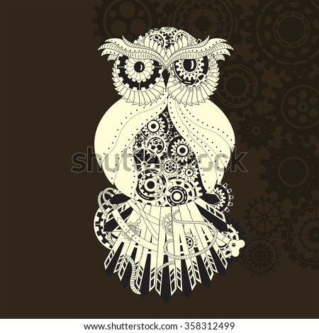Steampunk outline vector owl with gear. Metallic steam punk owl  - stock vector