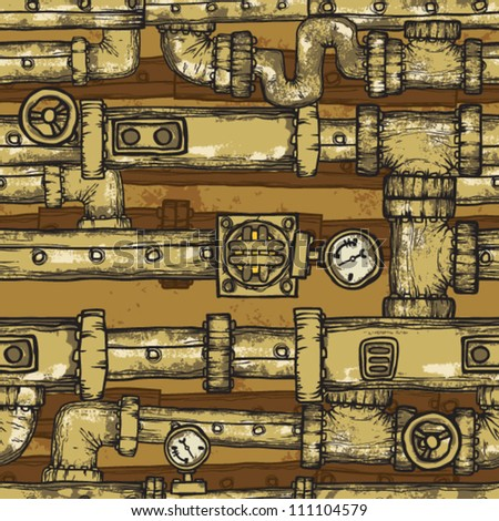 steampunk pipes field - stock vector