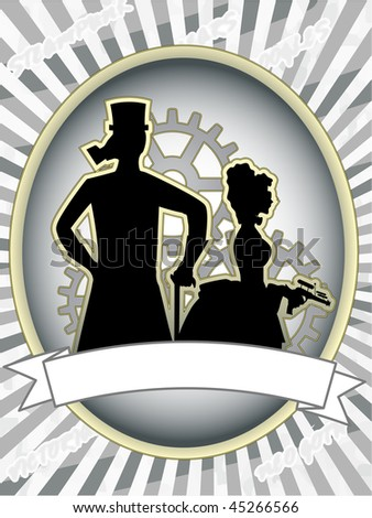 Steampunk product label male and woman with gears abstract
