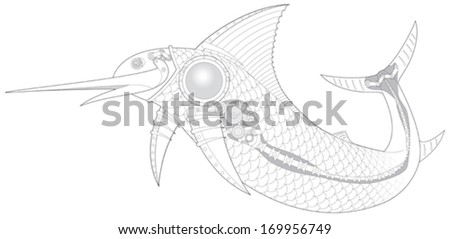 Steampunk Sailfish mechanical fish 3 vector illustration - stock vector