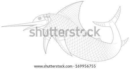 Steampunk Sailfish mechanical fish vector illustration - stock vector