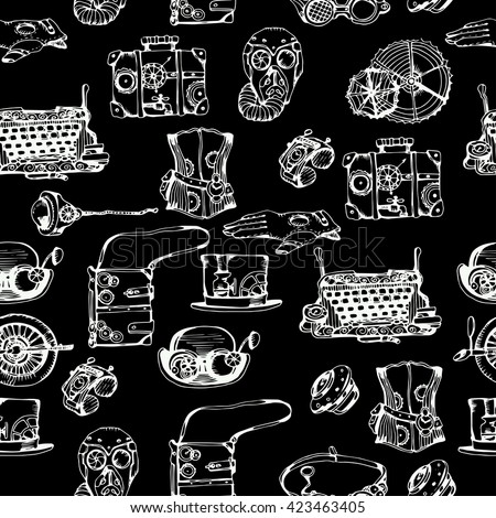 Steampunk seamless pattern, hand drawn vector illustration. Steampunk black background for your design. - stock vector