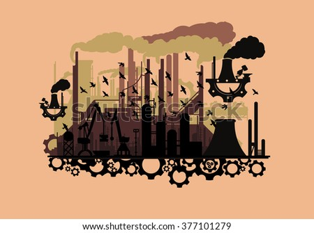 steampunk silhouette industry with the gears(vector eps10) - stock vector