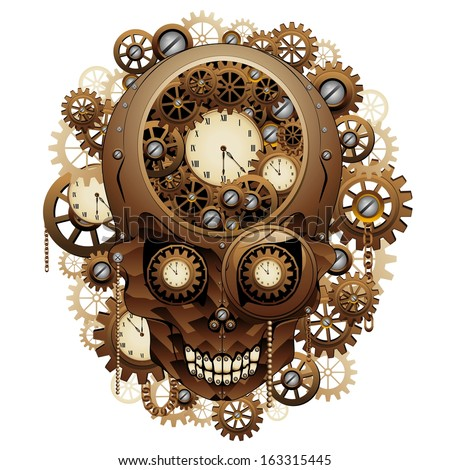 Steampunk Skull Vintage Style - stock vector