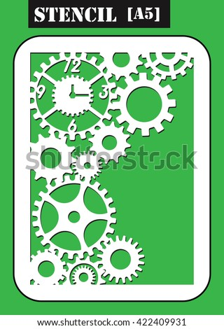 Steampunk stencil. Gear wheels of clockwork. Geometric circle dial with arrows made in vector. My be used for laser cutting or die cutting machines. Set of gears. - stock vector