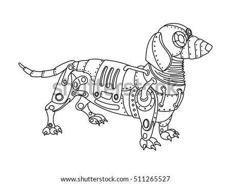 steampunk style dachshund dog mechanical animal stock vector 511265527 shutterstock. Black Bedroom Furniture Sets. Home Design Ideas