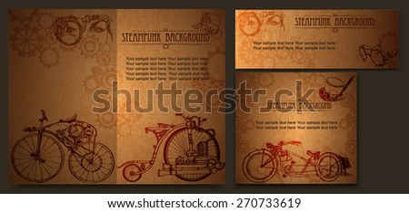 Steampunk style frame steampunk background - stock vector