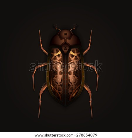 Steampunk style mechanical beetle - stock vector