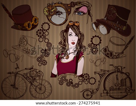 Steampunk style. Set of elements of steampunk. - stock vector