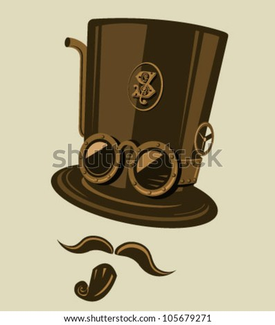 Steampunk style top hat with goggles and other retro elements. Place the top hat the mustache and the goatee on your photos and become a steampunk hero. - stock vector