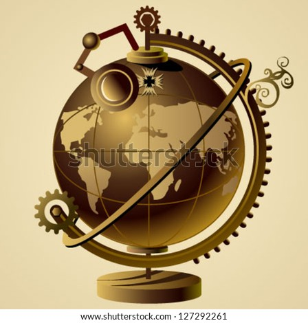 steampunk vector globe - stock vector