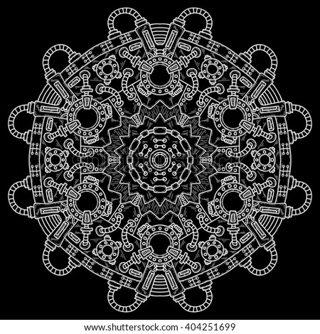 Steampunk vector illustration with industrial technical elements of mechanics. Vector round mandala. Ornamental doodle. - stock vector