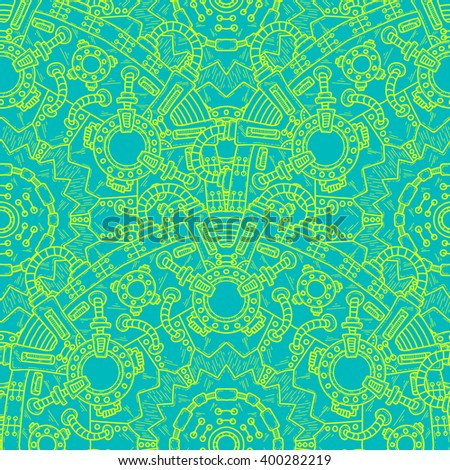 Steampunk vector seamless pattern with industrial technical elements of mechanics. Ornamental doodle background. - stock vector