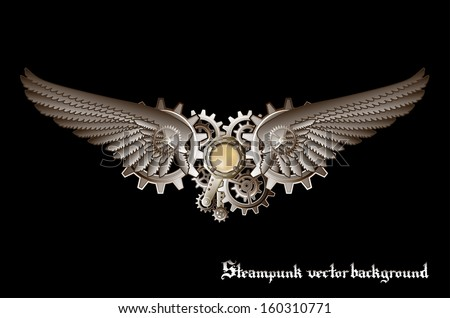 Steampunk vings vector background - stock vector