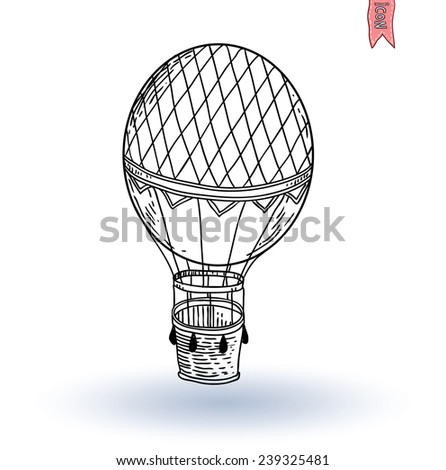 Steampunk vintage hot air balloon, hand drawn vector illustration. - stock vector