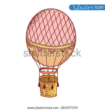 Steampunk vintage hot air balloon, hand drawn vector illustration. - stock vector