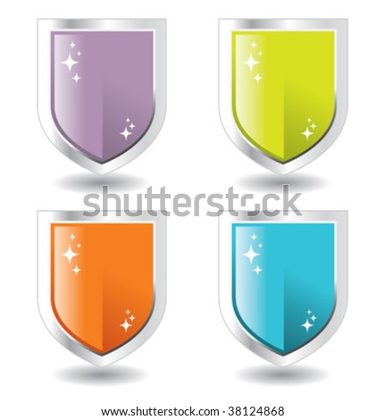 steel and purple, green, orange blue shields - stock vector
