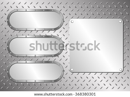 steel background with metal banners  - stock vector