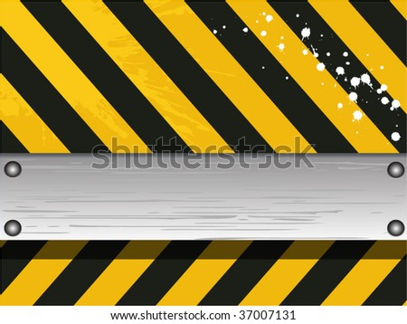 steel bar on danger sign background