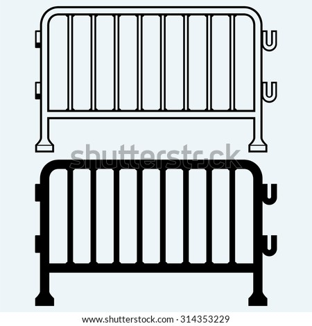 Steel barricades. Isolated on blue background - stock vector