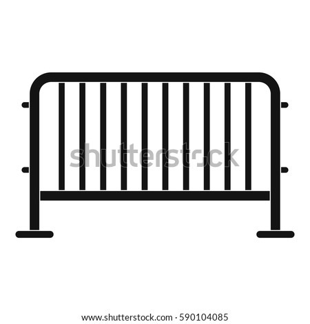 Simple Exhibition Stand Zone : Metal barrier isolated white background d stock