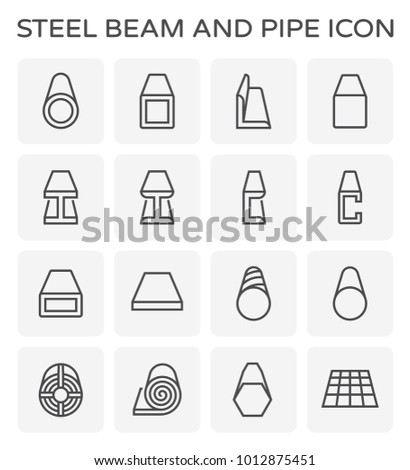Steel beam and pipe product icon set.
