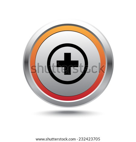 Steel button plus vector icon