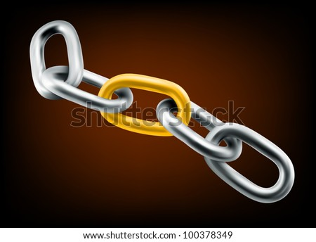 Steel chain with gold fence: reliability and teamwork concept - stock vector