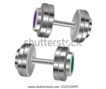 Steel dumbbells - stock vector